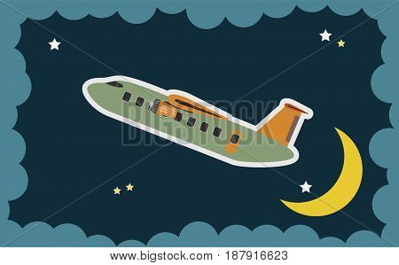 Abstract Of Passenger Aircraft Pass Over Moon Art Concept