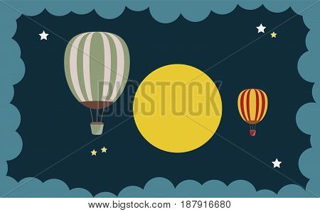 Abstract Of Hot Air Balloon Over Moon Art Concept