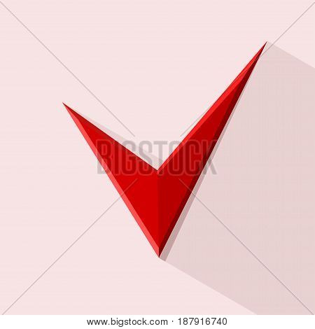 Red Check mark for design. Stockillustration. Vector
