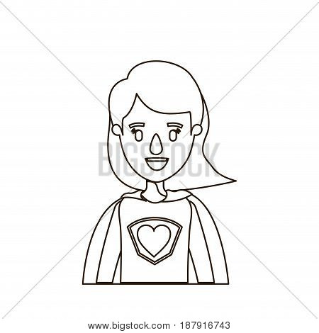 sketch contour caricature half body super woman with short hair vector illustration