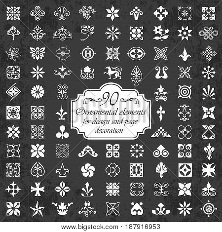 Ornamental elements for design and page decoration on a chalkboard background