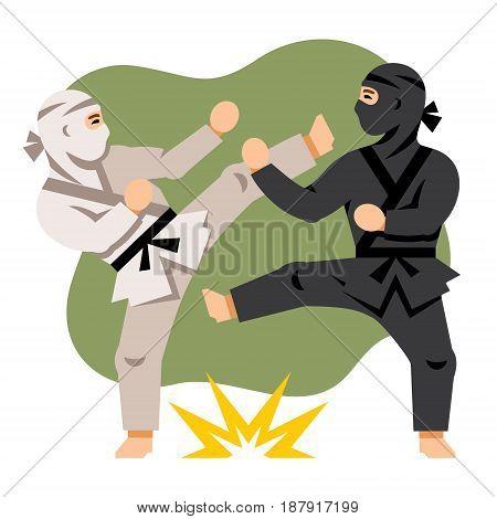 Combat two karatekas. Isolated on a White Background