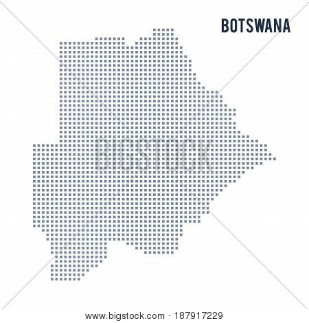 Vector Pixel Map Of Botswana Isolated On White Background