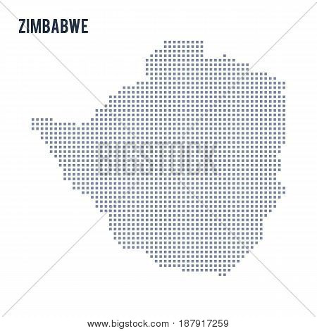 Vector Pixel Map Of Zimbabwe Isolated On White Background