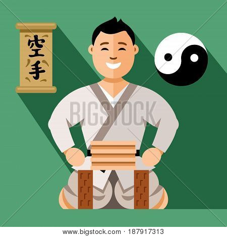 Athlete in kimono ready to hit the wooden board. Isolated on a color Background