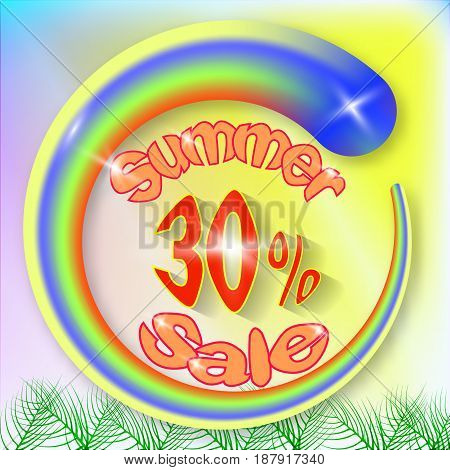 Summer sale template banner. Abstract circle shape with text