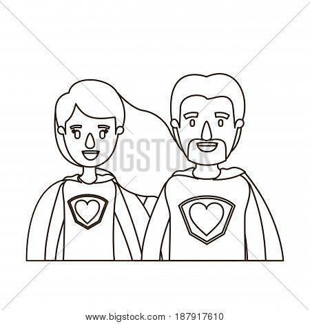 sketch contour caricature half body couple super hero with heart symbol in uniform vector illustration