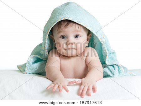 Adorable happy baby in towel isolate on white background