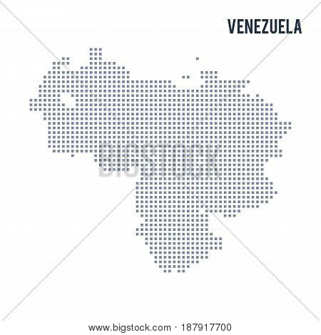 Vector Pixel Map Of Venezuela Isolated On White Background