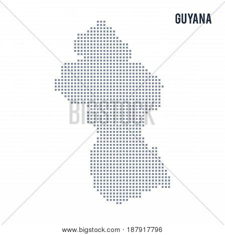 Vector Pixel Map Of Guyana Isolated On White Background