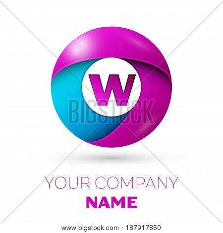 Letter W vector logo symbol in the colorful circle on white background. Vector template for your design