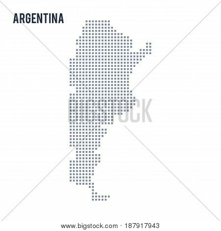Vector Pixel Map Of Argentina Isolated On White Background