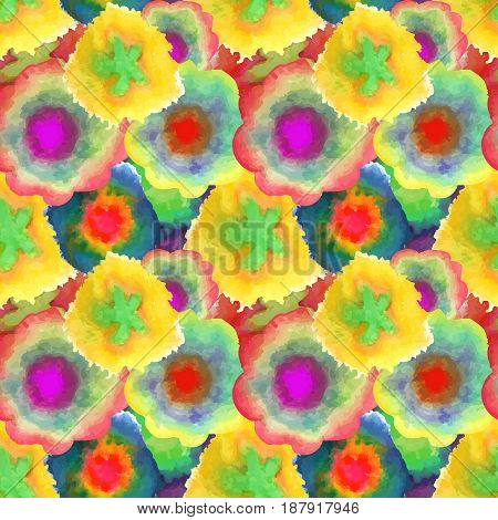 Watercolor seamless texture. Beautiful pattern of the petals. Vector illustration