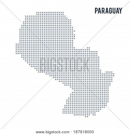 Vector Pixel Map Of Paraguay Isolated On White Background