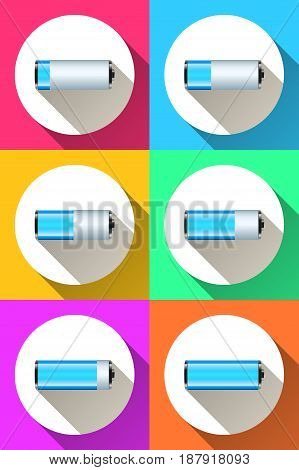 Color battery icon. Battery logo. Marketing co or info.