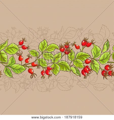 wild rose vector pattern on color background