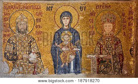 Mosaic of Virgin Mary and Jesus Christ and other Saints in the Hagia Sofia church, Istanbul, Turkey