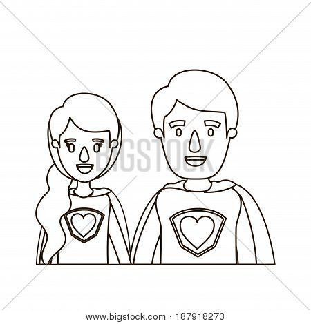 sketch contour caricature half body young couple female and male super hero with heart symbol in uniform vector illustration