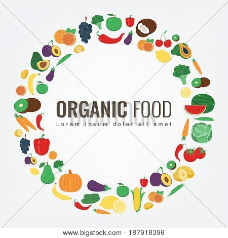 Organic food. Fruits and vegetables. Healthy eating concept. Vector illustration