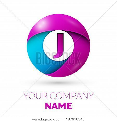 Letter J vector logo symbol in the colorful circle on white background. Vector template for your design
