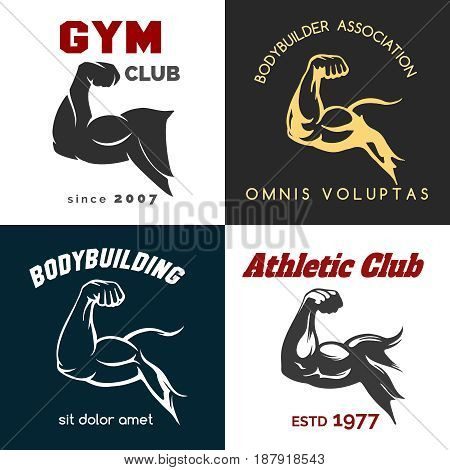Fitness center logo set. Power bicep gym man arms flex emblems. Vector illustration poster