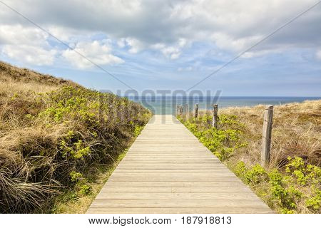 Wooden path to the beach of Kampen, Sylt, Germany