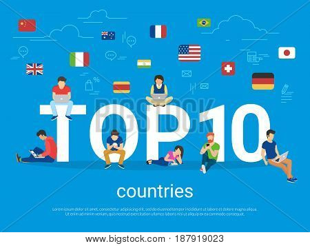 Top 10 countries flat concept illustration of young people using smart phones for searching internet and reading information about visa reqirements. Country rating blue banner for website and blog