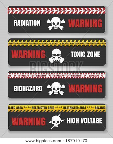 Danger and caution signs with skulls. Warning tape safety black hazard banners vector illustration