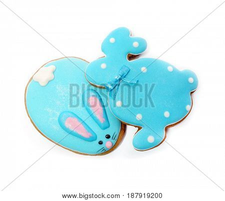 Easter cookie. Blue Rabbit