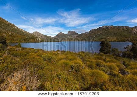 View of Dove Lake across buttongrass moorland with Cradle Mountain in background at Lake St Clair National Park. Autumn in Tasmania, Australia