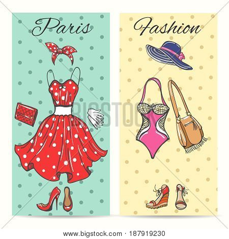 Paris fashion clothes cards for ladies boutique vector illustration. Summer dress and shoes, women hat and handbag