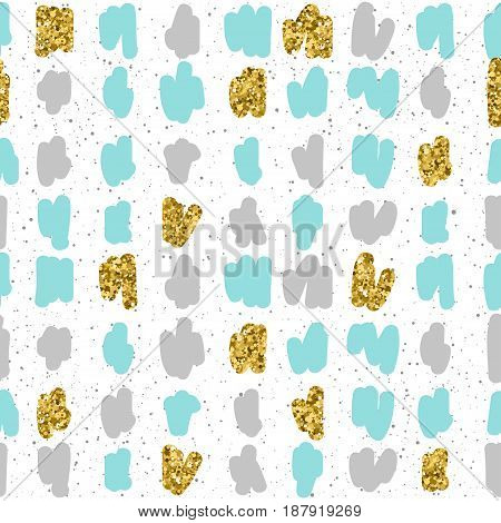 Doodle Seamless Background. Grey, Blue And Gold Shape.