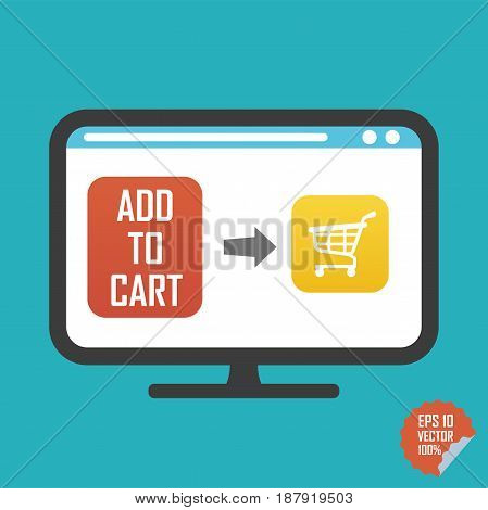 Shopping Cart On Screen And Add To Cart Button Flat Vector Icon. Illustration For Website Or Mobile