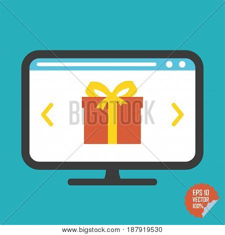 Gift On Screen Flat Vector Icon. Illustration For Website Or Mobile Application.