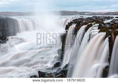 Famous Selfoss waterfall, Jokulsargljufur National Park, Iceland.