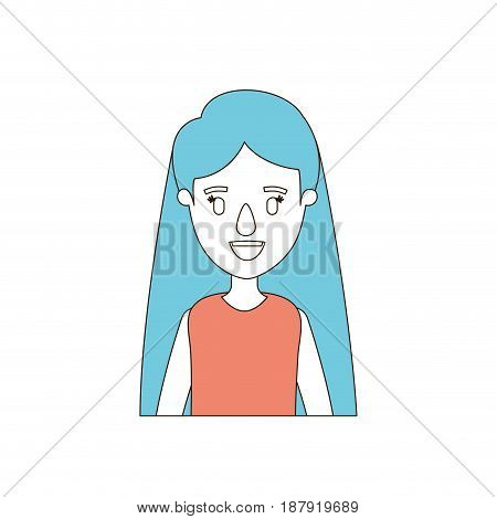 caricature color sections and blue hair of half body woman with long straight hairstyle vector illustration