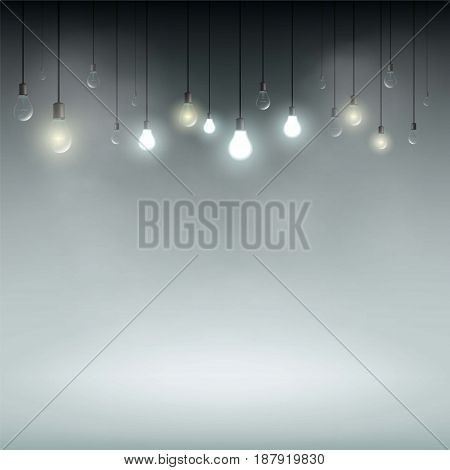 Technology background with light bulbs for the presentation and advertising. Stock vector illustration.