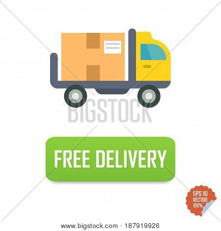 Free Delivery Button With Truck. Free Delivery Vector Isolated Icon.