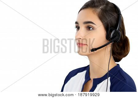 Call center operator isolated over white background. Young Hispanic or latin american women in headset.