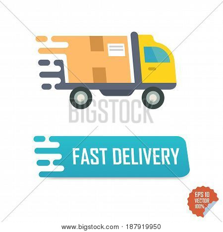 Fast Delivery Button With Truck. Fast Delivery Vector Isolated Icon.