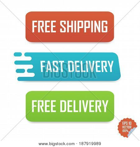 Free Shipping, Fast Delivery And Free Delivery Buttons. Isolated Buttons For Website Or Mobile Appli