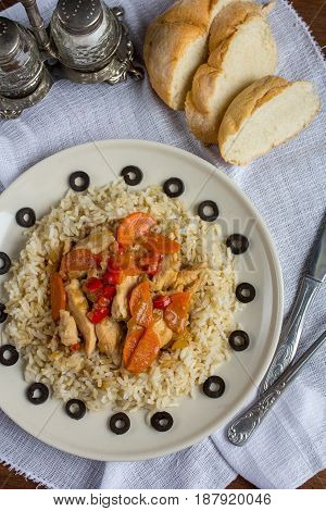 Brown Rice With Chicken And Vegetables