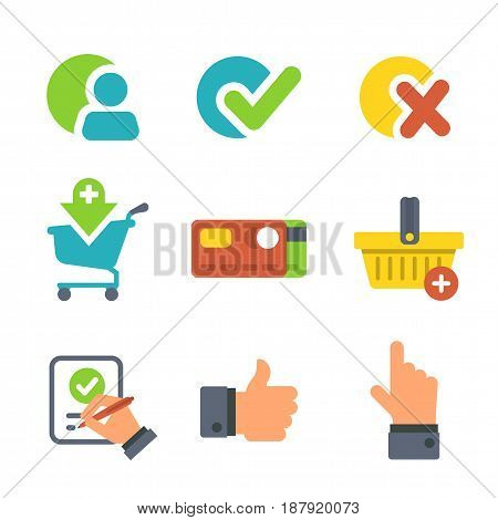 Shopping And E-commerce For Website Or Mobile Application. Icons Isolated On Wihite.