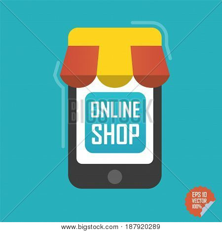 Online Shop Illustration. Smartphone With Awning For Website Or Mobile Application.