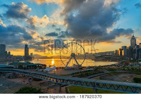 Hong Kong city in sunrise, cityscape in hong kong