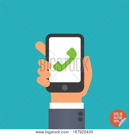 Smartphone With Phone Icon In Hand For Website Or Mobile Application.