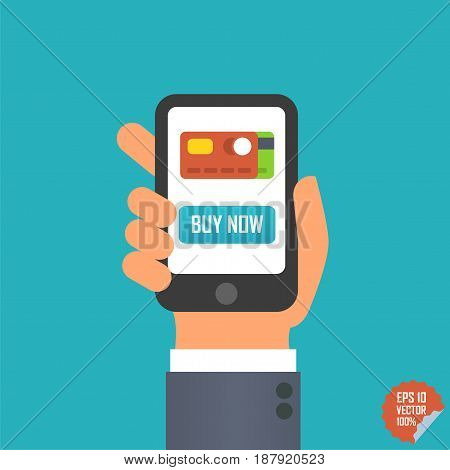 Smartphone With Buy Now Button And Credit Card Icon In Hand For Website Or Mobile Application.