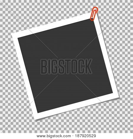 Photo Frame With Red Pinstaple On Transparent Background. Vector Template For Your Cute Photo Or Ima