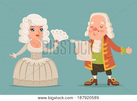 Noble medieval lady lord aristocrat countess princess queen king mascot design cartoon vector illustration