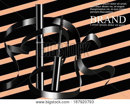 Ink banner fashion, crisp pages or the pages of the magazine. Realistic vector cosmetic objects